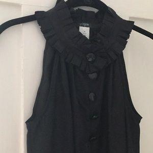 Women's J.Crew Black Silk Ruffle Neck Blouse XS